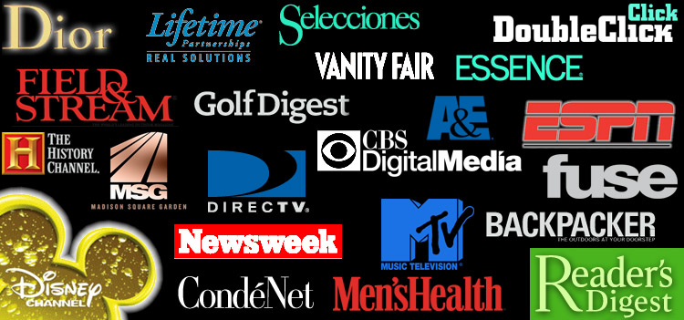 Our End Users include Disney, Conde Nast, Fuse, Reader's Digest, Dior, Newsweek, Essence, History Channel, MTv, A&E, ESPN, CBS, Golf Digest, Backpacker, and MSG, to name a few.